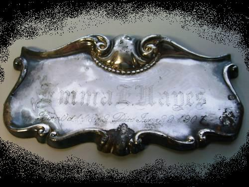 The Free Genealogy Death Record on the Coffin Plate of Emma Hayes 1869 ~ 1907