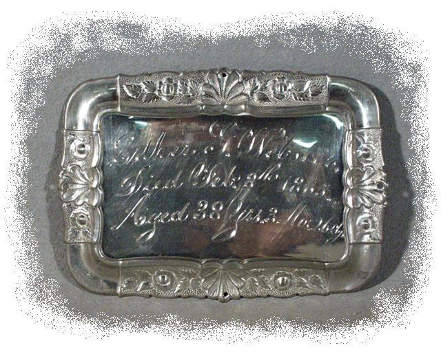 The Free Genealogy Death Record on the Coffin Plate of Ester G Webster 1827 ~ 1865