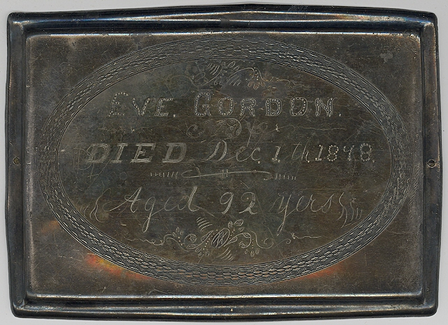 The Free Genealogy Death Record on the Coffin Plate of Eve Gordon 1786 ~ 1878