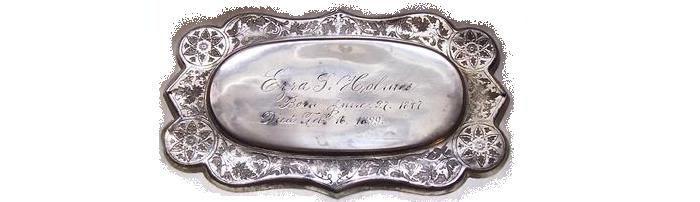 The Free Genealogy Death Record on the Coffin Plate of Ezra L Holmes 1847 ~ 1899