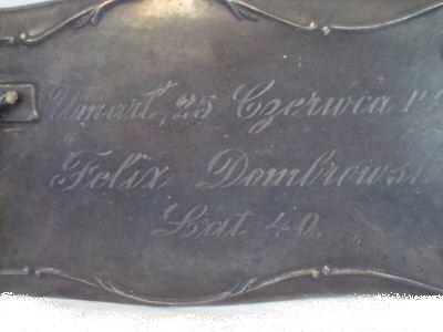 The Free Genealogy Death Record on the Coffin Plate of Felix Dombrowski