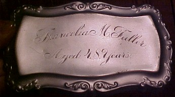 The Free Genealogy Death Record on the Coffin Plate of Francelia Fuller age 47