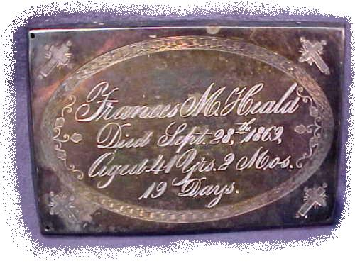 The Free Genealogy Death Record on the Coffin Plate of Frances M Heald 1828 ~ 1869