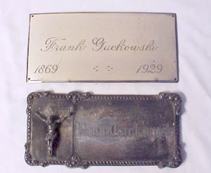 The Birth Record and Death Record on the Coffin Plate of Frank Jackowski 1869 1929 is Free Genealogy