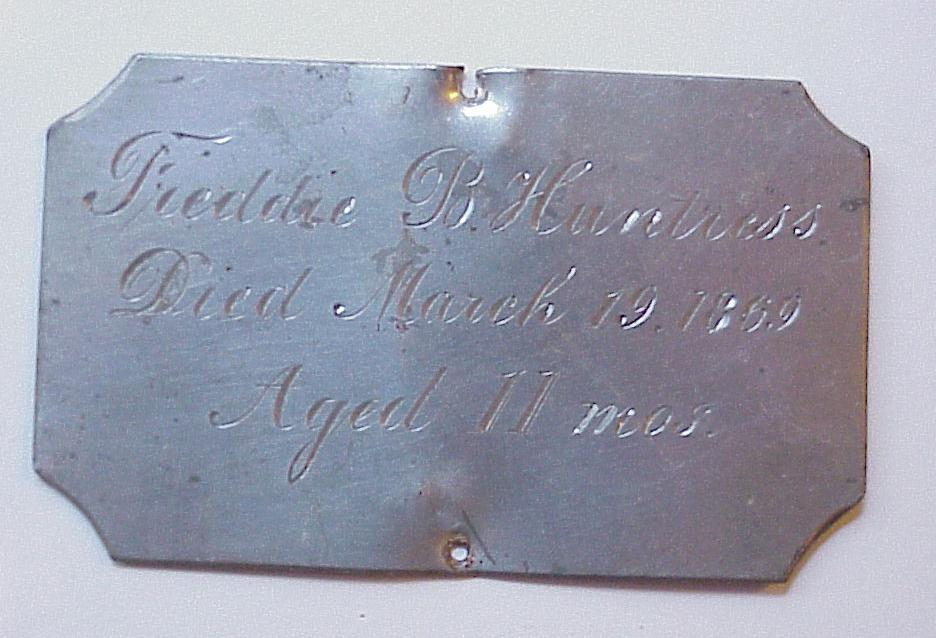 The Free Genealogy Death Record on the Coffin Plate of Freddie B Huntress 1868 ~ 1869