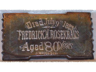 Free Death Records on Coffin Plates Fredrick H Rosekrans is Free Genealogy