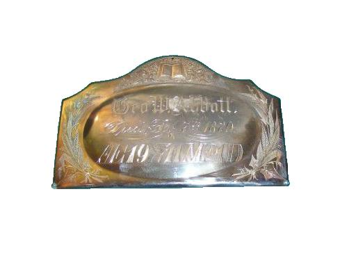 The Free Genealogy Death Record on the Coffin Plate of George W Abbott 1860 ~ 1879