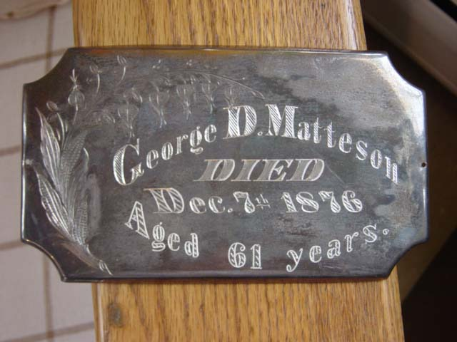 The Free Genealogy Death Record on the Coffin Plate of George D Matteson