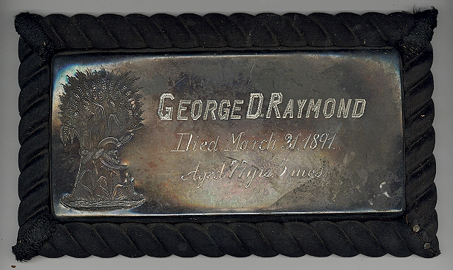 The Free Genealogy Death Record on the Coffin Plate of George D Raymond 1814 ~ 1891