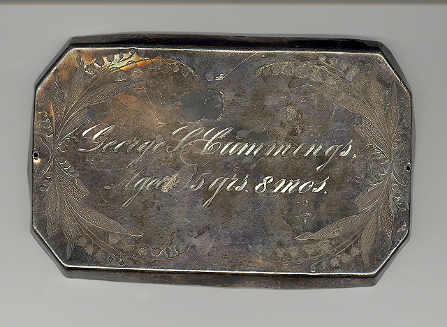 The Free Genealogy Death Record on the Coffin Plate of George L Cummings