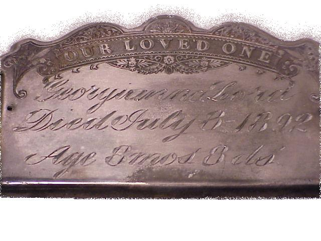The Free Genealogy Death Record on the Coffin Plate of Georgianna Lord 1891 ~ 1892