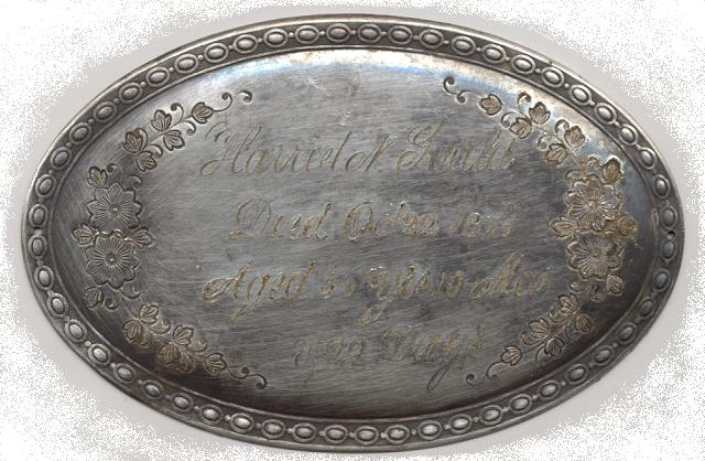 The Free Genealogy Death Record on the Coffin Plate of Harriet N Gould 1820 ~ 1876