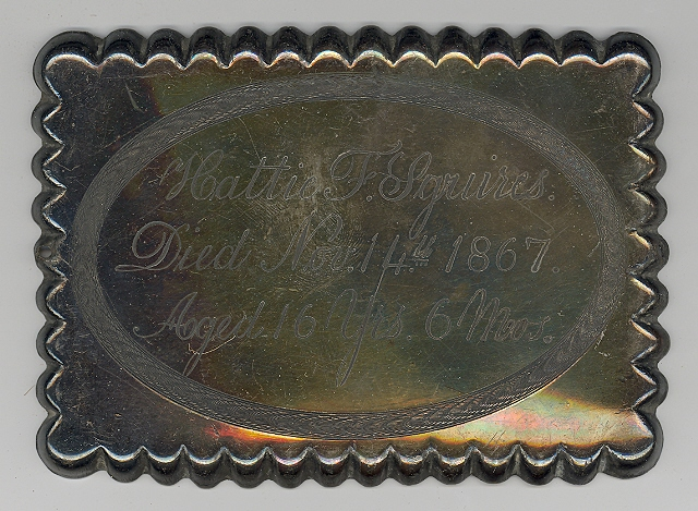 The Free Genealogy Death Record on the Coffin Plate of Hattie F Squires 1851 ~ 1867