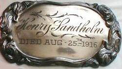 The Birth Record and Death Record on the Coffin Plate of Henry Landholm is Free Genealogy