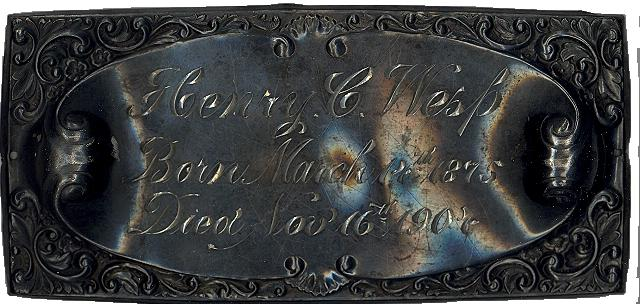 The Free Genealogy Death Record on the Coffin Plate of Henry C Wesp 1875 ~ 1904