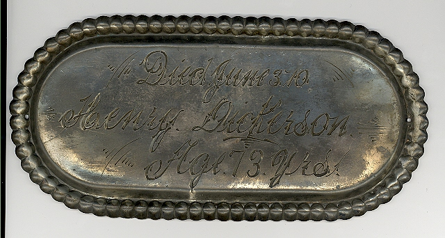 The Free Genealogy Death Record on the Coffin Plate of Henry Dickerson 1837 ~ 1910