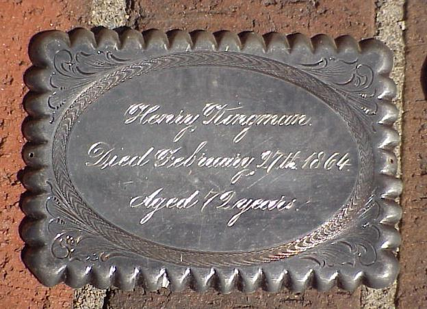 Free Genealogy Death Record on the Coffin Plate of Henry Kingman 1792 ~1864