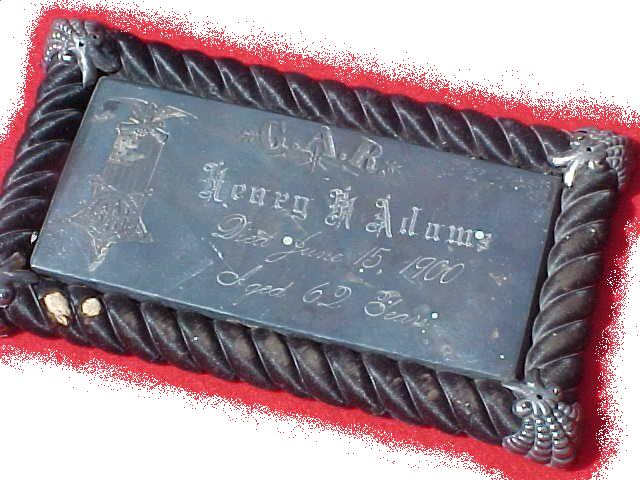 The Free Genealogy Death Record on the Coffin Plate of Henry M Adams 1838 ~ 1900