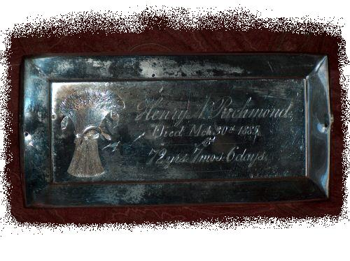 The Free Genealogy Death Record on the Coffin Plate of Henry Richmond 1813 ~ 1885