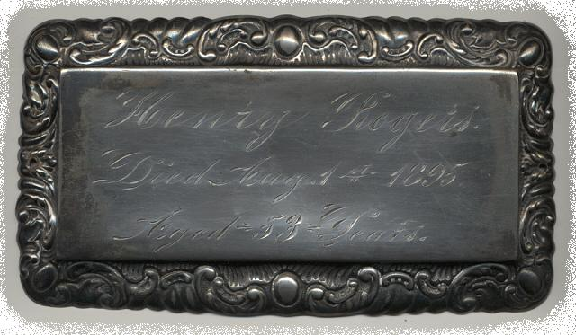 The Free Genealogy Death Record on the Coffin Plate of Henry Rogers 1842 ~ 1895