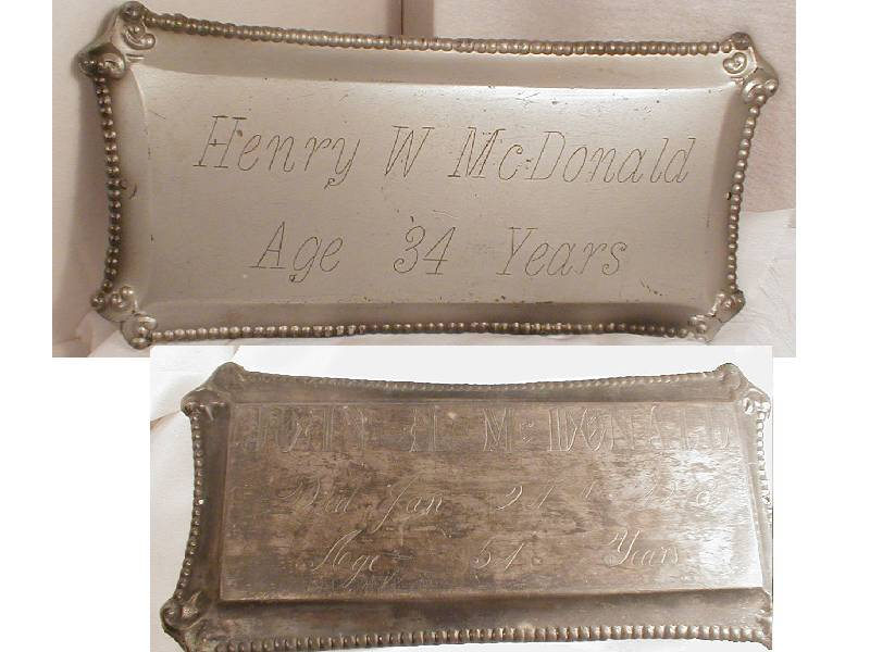 The Free Genealogy Death Record on the Coffin Plate of Henry W McDonald Aged 34 and Joan A McDonald 1864 ~ 1918