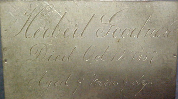 The Free Genealogy Death Record on the Coffin Plate of Herbert Goodnow