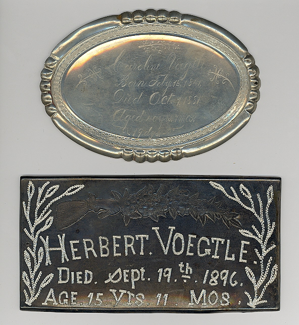 The Free Genealogy Death Record on the Coffin Plates of Caroline Voegtle 1841 ~ 1881 and Herbert Voegtle 1881 ~ 1896