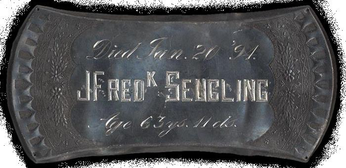 The Birth Record and Death Record on the Coffin Plate of John Frederick Seugling  is Free Genealogy