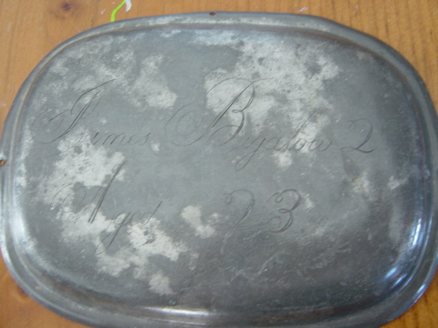 The Free Genealogy Death Record on the Coffin Plate of James Bigalow 1821 ~ 1844