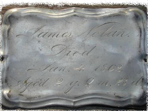 The Free Genealogy Death Record on the Coffin Plate of James Nolan 1860~1862