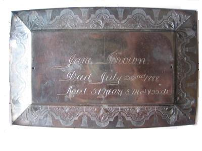 The Free Genealogy Death Record on the Coffin Plates of Jane Brown 1827 ~ 1888, Mary Jane Brown 1861 ~ 1886, William Brown 1831 ~ 1886