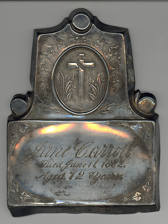 The Free Genealogy Death Record on the Coffin Plate of Jane Carroll 1810 ~ 1882