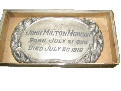 The Free Genealogy Death Record on the Coffin Plate of John Milton Morgan 1900 ~ 1916