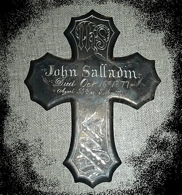 The Free Genealogy Death Record on the Coffin Plate of John Salladin 1822 ~ 1877