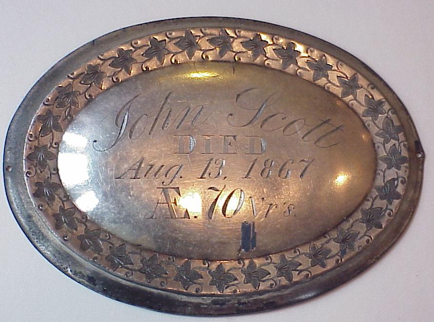 Free Genealogy Death Record on the Coffin Plate of John Scott 1797 ~ 1867
