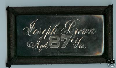 The Free Genealogy Death Record on the Coffin Plate of Joseph Brown