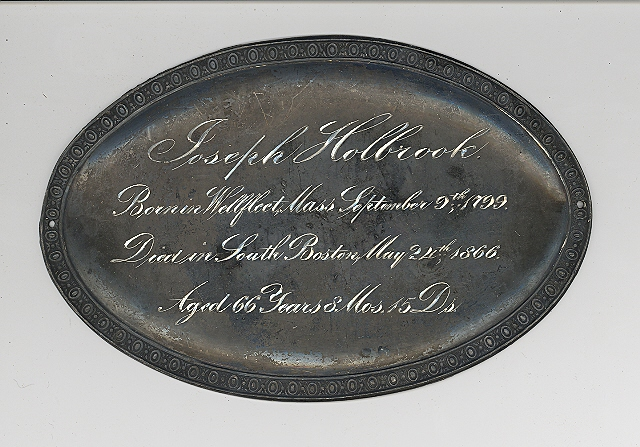 The Free Genealogy Death Record on the Coffin Plate of joseph holbrook