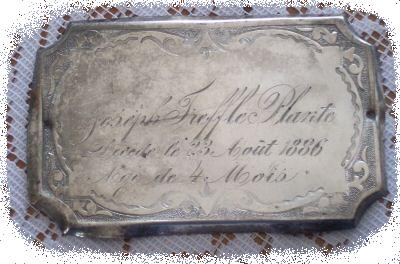 The Free Genealogy Death Record on the Coffin Plate of Joseph Treffle Plante