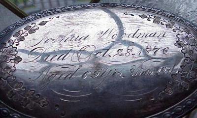 Free Genealogy Death Record on the Coffin Plate of Joshua Woodman