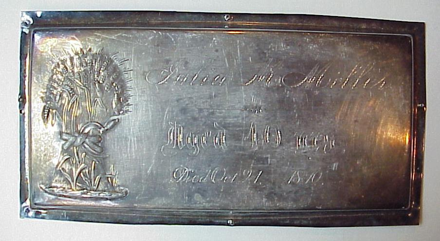 Free Genealogy Death Record on the Coffin Plate of Miller