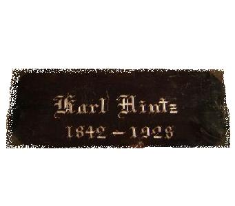 The Free Genealogy Death Record on the Coffin Plate of Karl Hintz 1842 ~ 1928