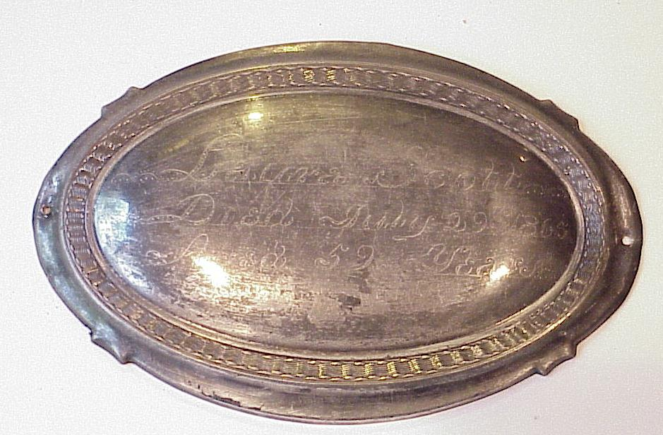 The Free Genealogy Death Record on the Coffin Plate of Laura Scott