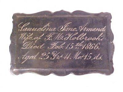 The Free Genealogy Death Record on the Coffin Plate of lauuelina jane armand