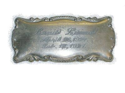 The Free Genealogy Death Record on the Coffin Plate of Louis Luino 1924 ~ 1927
