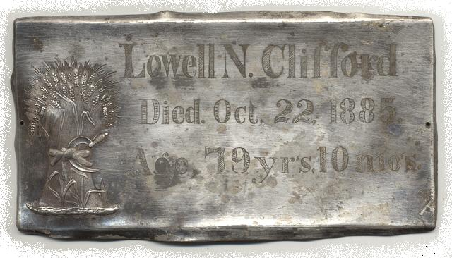 The Free Genealogy Death Record on the Coffin Plate of Lowell N Clifford 1806 ~ 1885