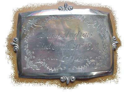 The Free Genealogy Death Record on the Coffin Plate of Lucy Andrews 1790 ~ 1869