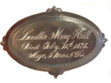 The Free Genealogy Death Record on the Coffin Plate of Luetta May Hill