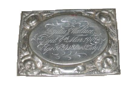 The Free Genealogy Death Record on the Coffin Plate of Lydia J Wallace 1843 ~ 1901