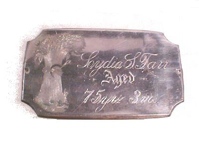 The Free Genealogy Death Record on the Coffin Plate of Lydia L Farr