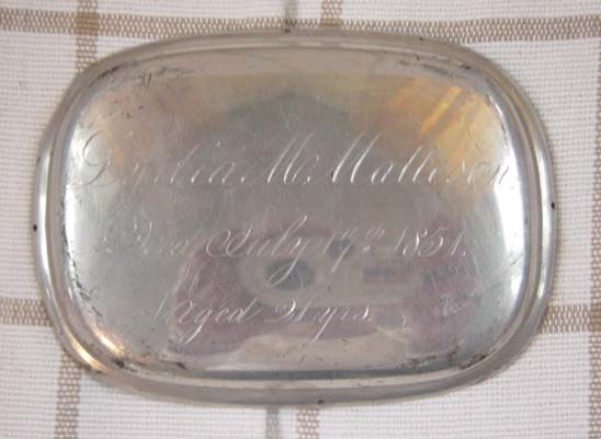 The Free Genealogy Death Record on the Coffin Plate of Lydia M Matteson